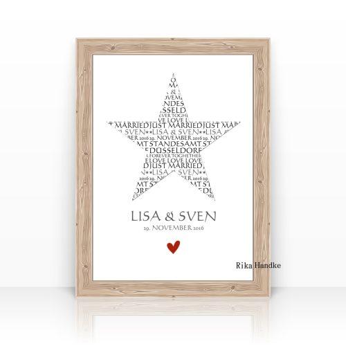 Personalisierte Kunstdrucke Hochzeit-Liebe-Valentin-Jahrestag