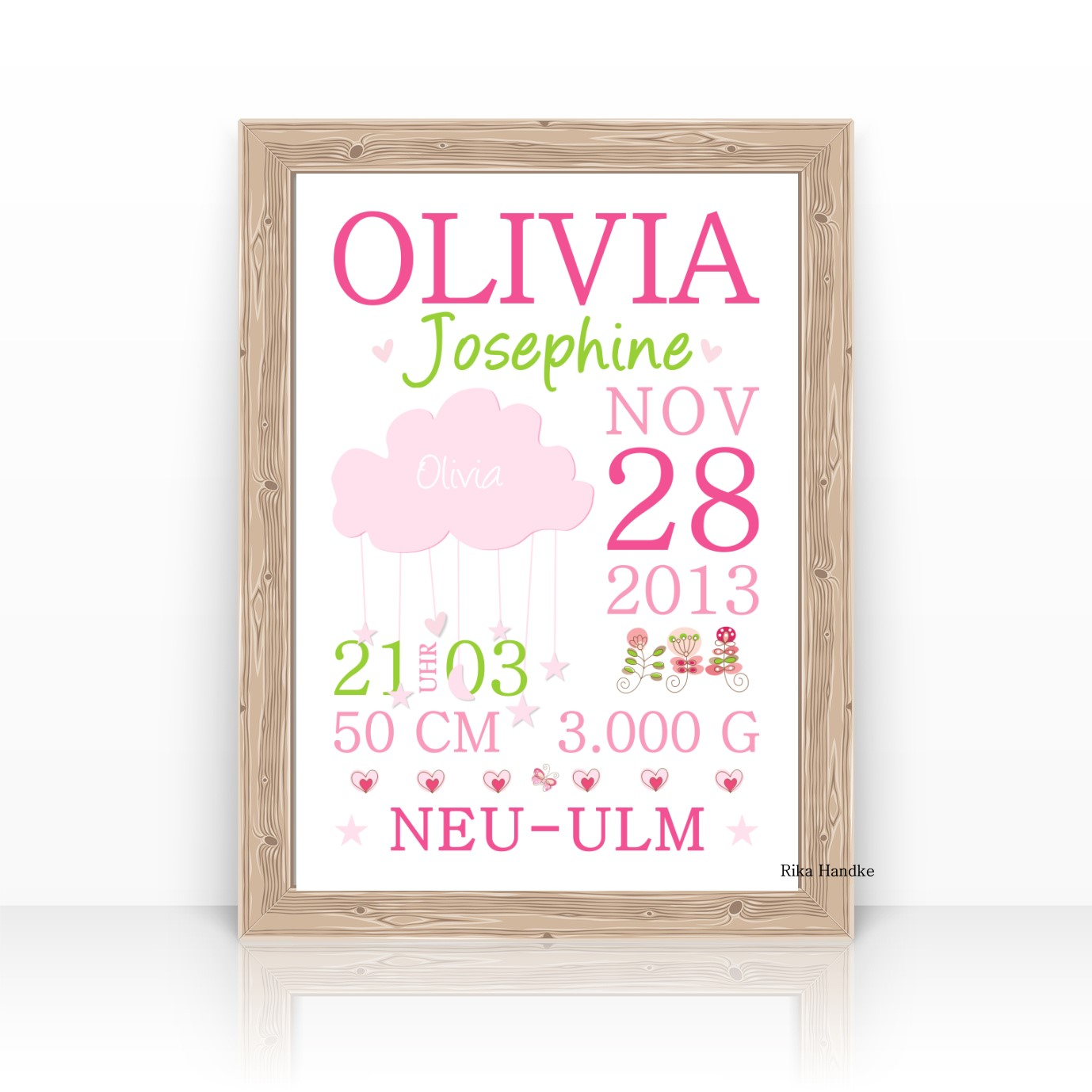 Personalisierte Geburtsanzeige Baby Geschenk Geburt Wolke Mädchen