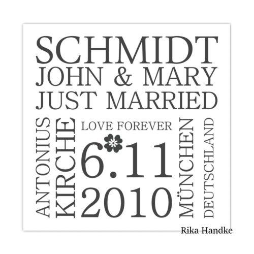 Quadratische Kunstdrucke Hochzeit-Liebe-Valentin