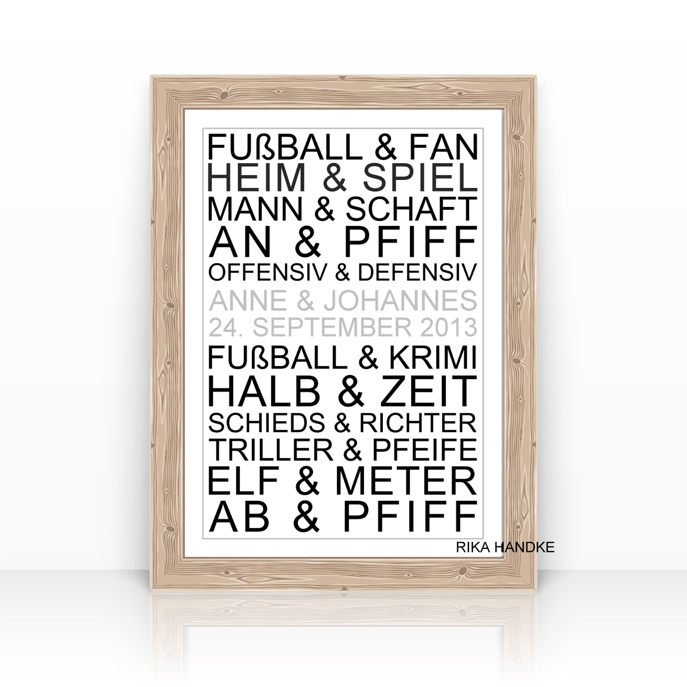 Personalisierter Kunstdruck Mit Namen Fussballfan