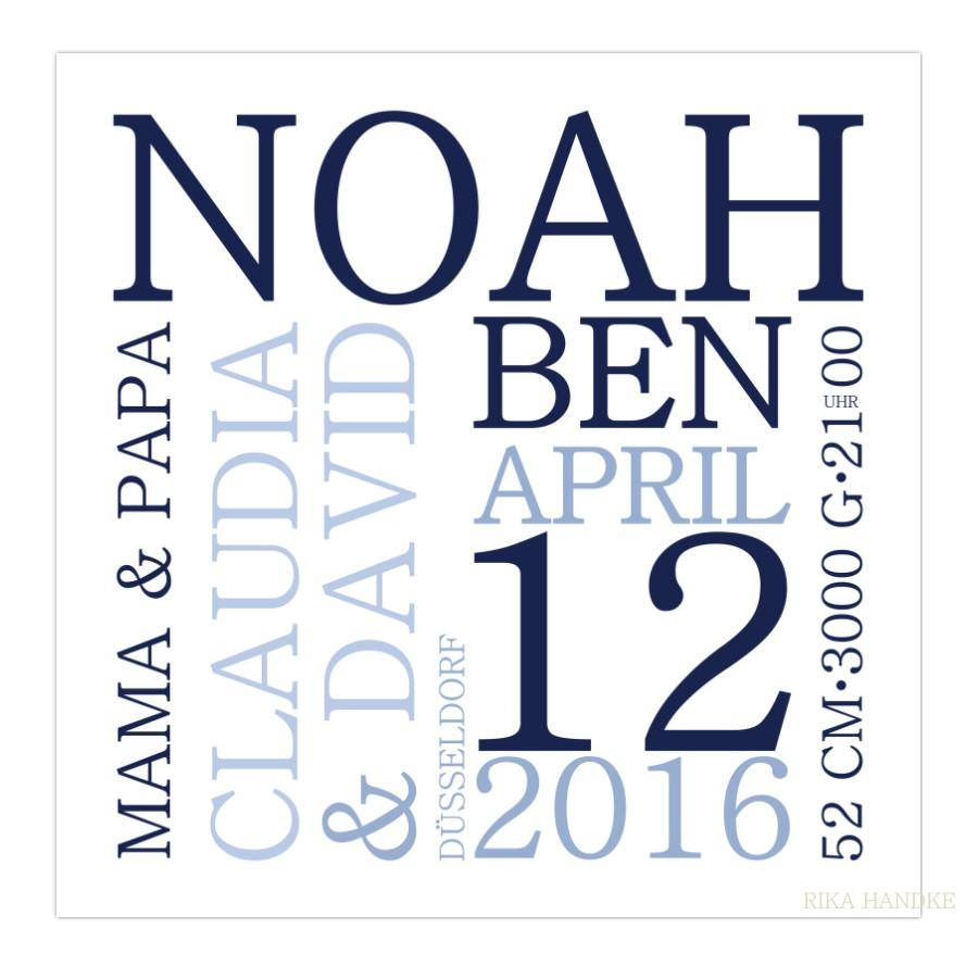 Personalisiertes Geschenk Zur Geburt Taufe Mit Namen Der Eltern Blau