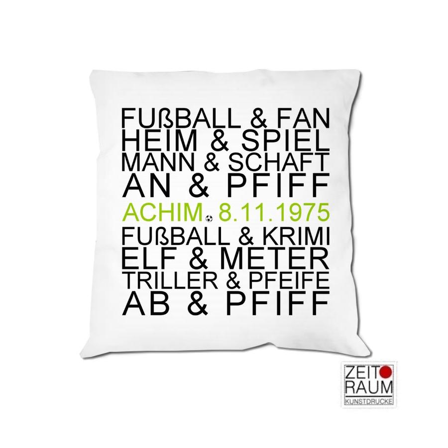 Fussballfan Kissen Mit Namen Geburtstagsgeschenk