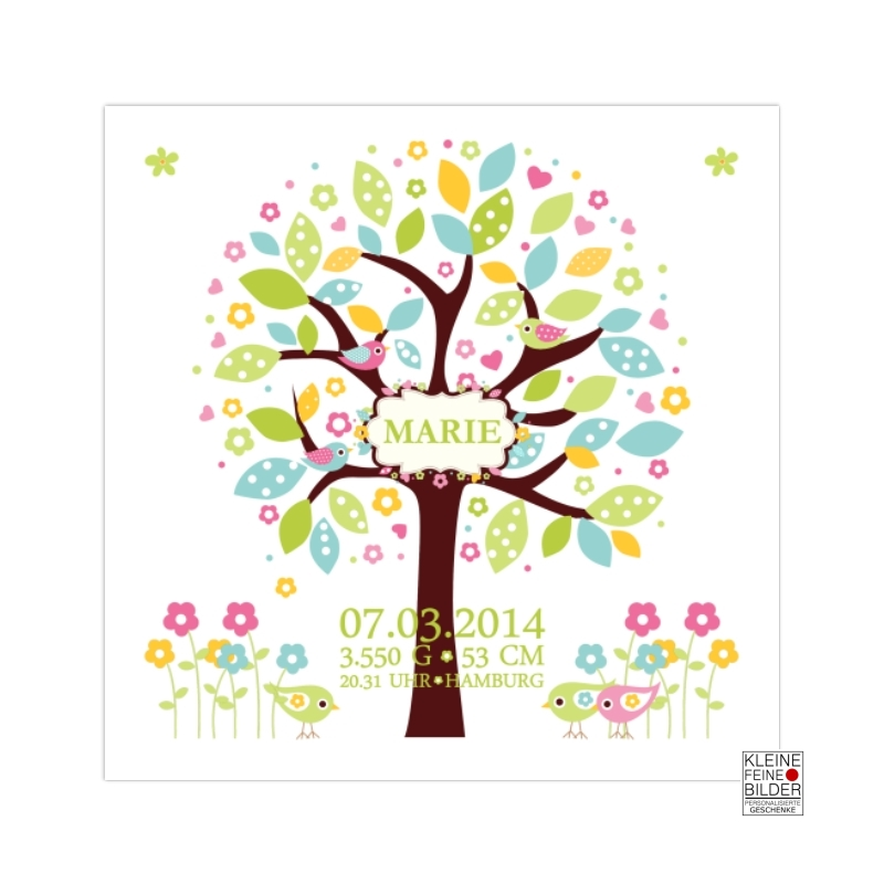 Geschenk Geburt Personalisierte Geburtsanzeige Lebensbaum Blau
