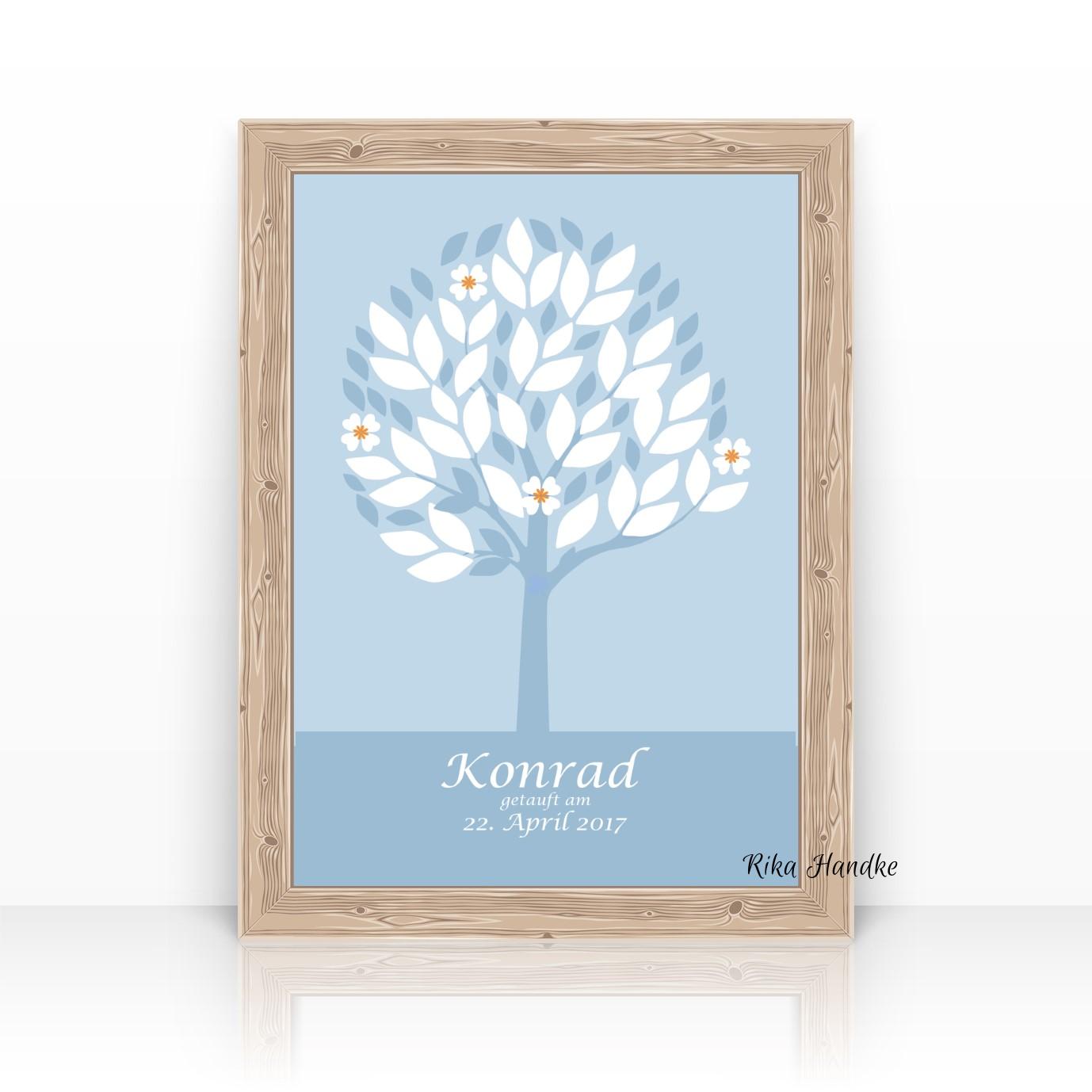 Taufgeschenk Geschenk Zur Geburt Lebensbaum Gästebuch Blau