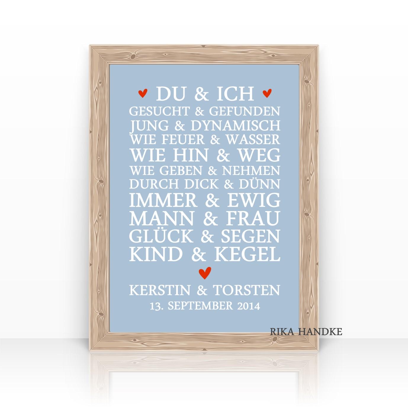 Hochzeitsgeschenk Personalisiertes Geschenk Hochzeit Du Ich