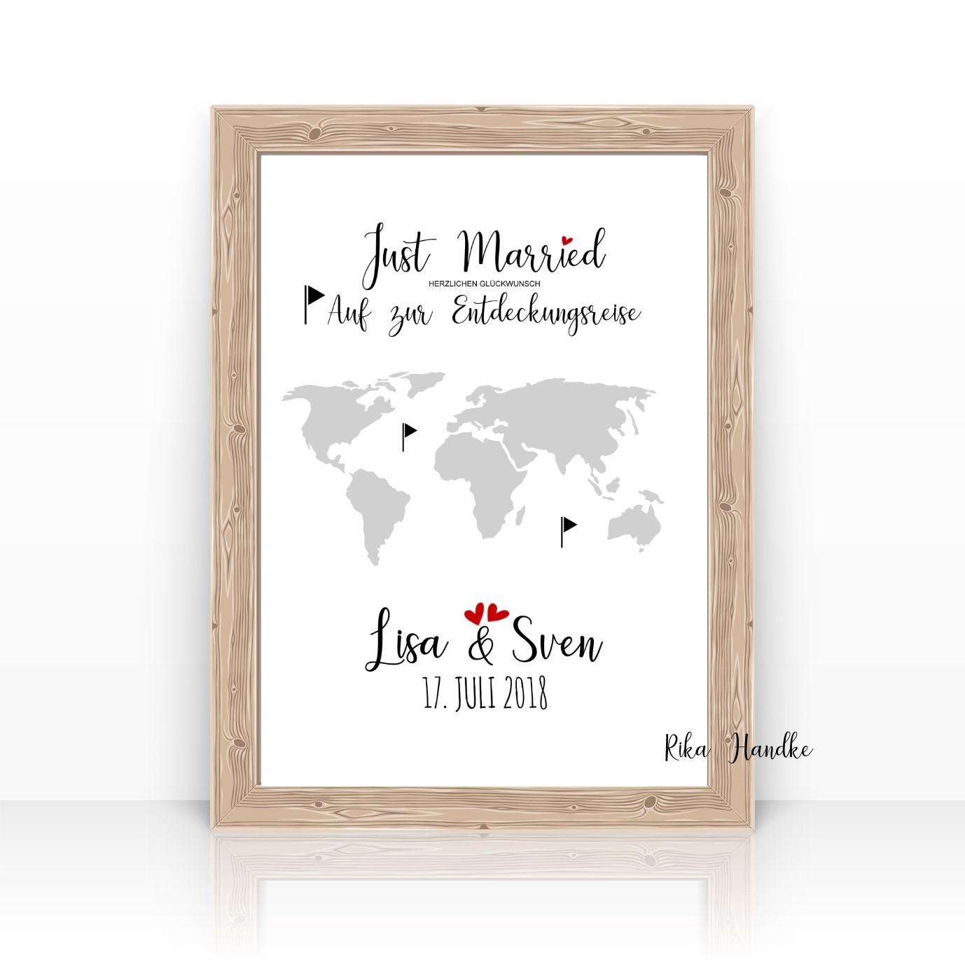 Geldgeschenk Geschenk Zur Hochzeit Weltkarte Personalisiert A4 Personalisierte Geschenke Zur Hochzeit Zur Geburt Zur Taufe Hochzeitsgeschenke Geburtsgeschenke Taufgeschenke Geldgeschenke