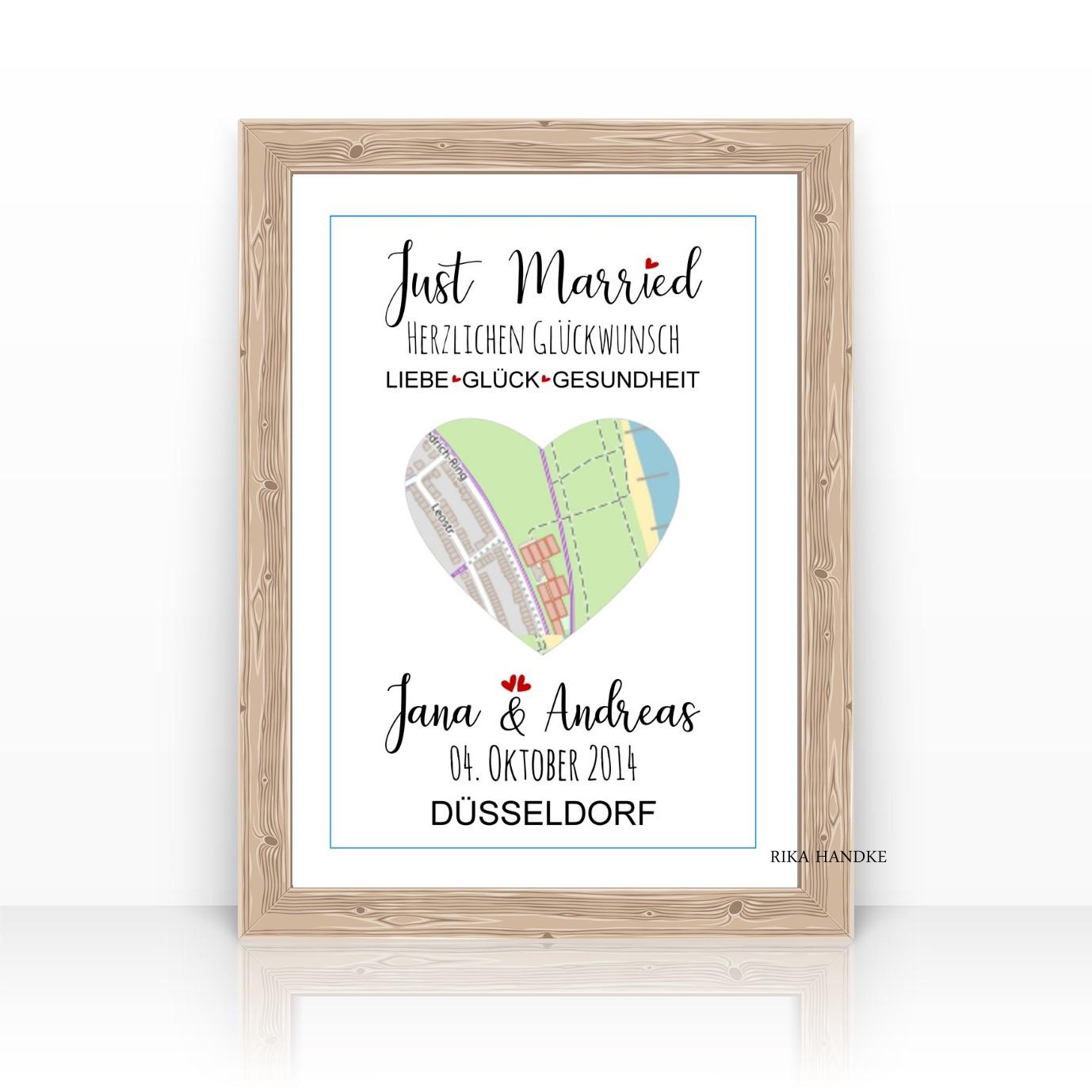 Hochzeitsgeschenk Geschenk Hochzeit Poster Herz Mit Stadtplan