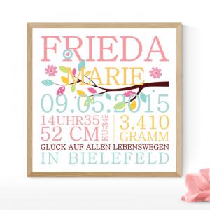FRIEDA-Geburtsanzeige Baby Geschenk Poster Taufgeschenk