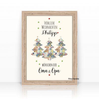 Weihnachtsgeschenk Geldgeschenk Geschenk Weihnachten Tannen bäume
